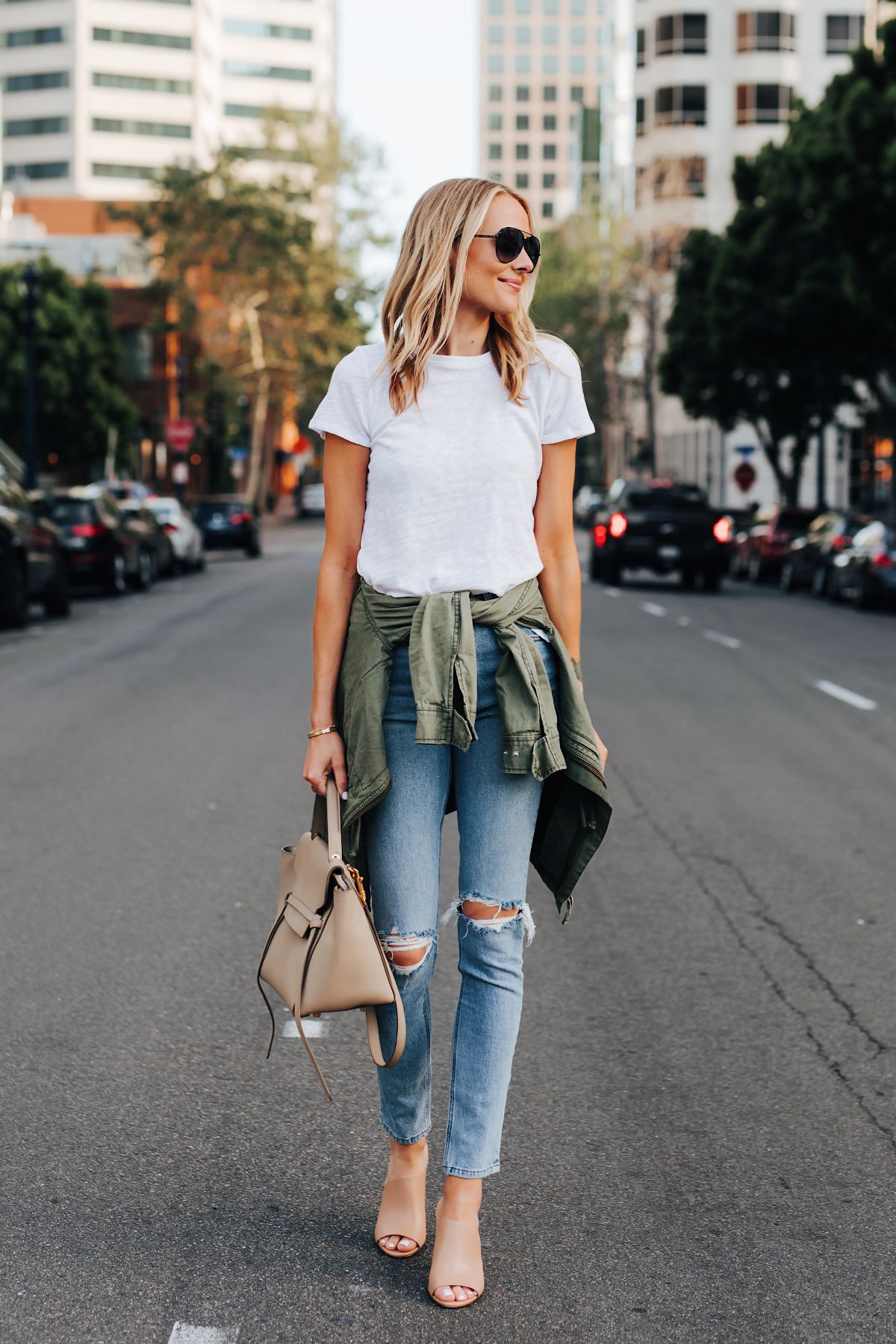 4ded20f5759 Fashion Jackson Wearing ATM White Tshirt Ripped Skinny Jeans Green Utility  Jacket Vince Hanna Nude Heeled