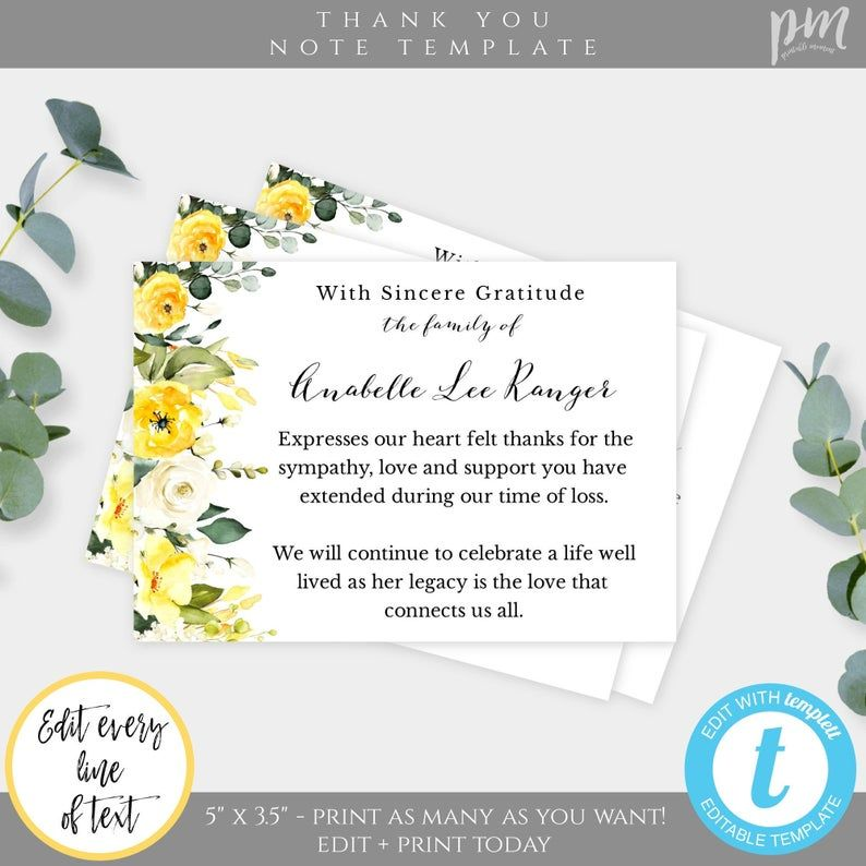 Yellow Floral Funeral Thank You Card Template Memorial Card Etsy In 2021 Funeral Thank You Cards Funeral Thank You Thank You Card Template