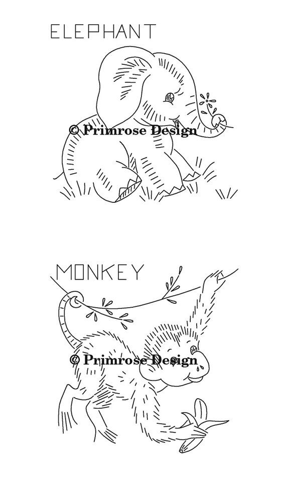 Vintage hand embroidery pattern pdf wild animals five