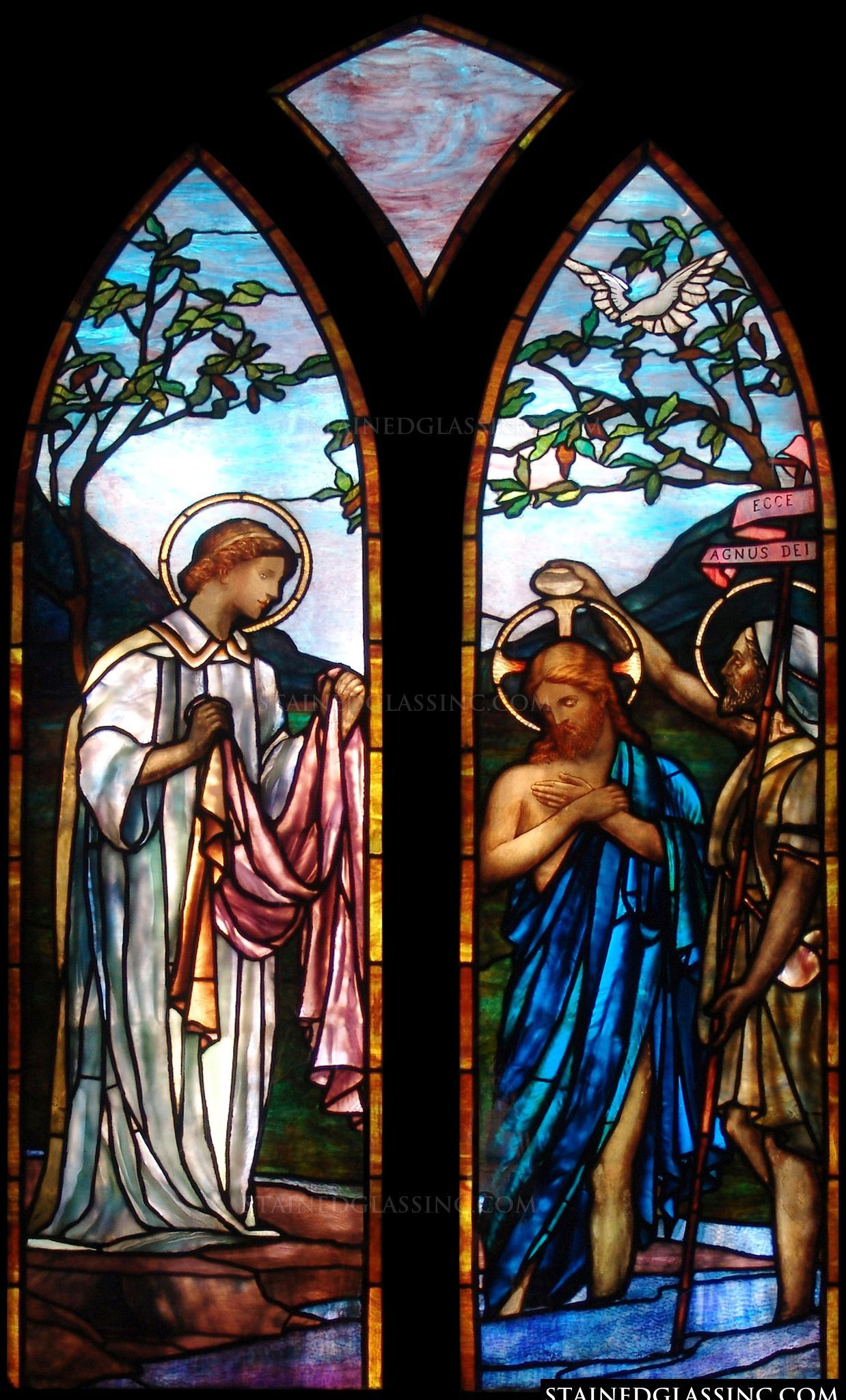 Jesus Is Baptized Gothic Religious Stained Glass Window