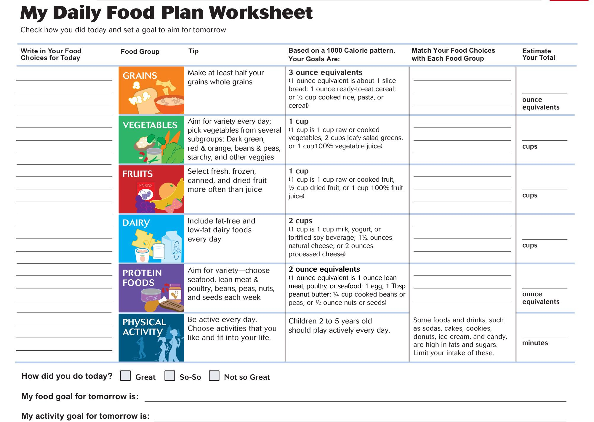 Toddler Daily Food Plan Worksheet With Images