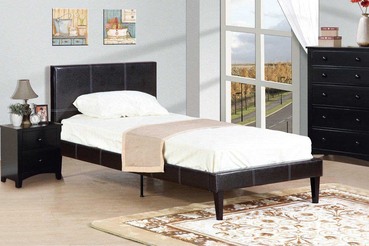 Poundex Espresso Platform Twin Bed Bed, Twin platform