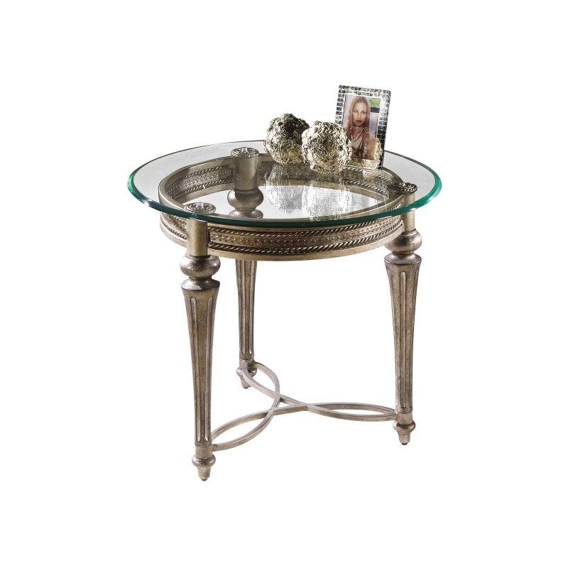 Sleeper Sofas Magnussen Galloway Round Iron and Glass End Table MHF