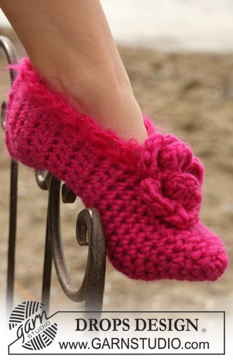Zapatillas de ganchillo DROPS en Eskimo ~ DROPS Design | CAPAS Y ...