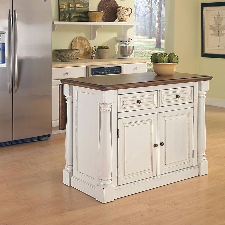 Home Styles Monarch Kitchen Island With Oak Top In Antiqued White In 2020 Antique White Kitchen White Kitchen Island Portable Kitchen Island