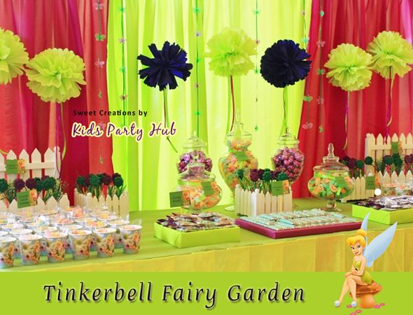 Tinkerbell themed dessert table Tinkerbell Fairy Party Pinterest