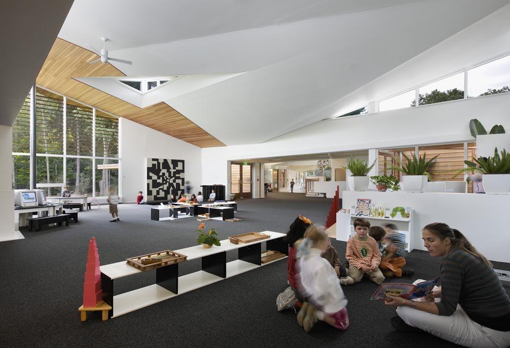 Modern Montessori Classroom ~ Incredibly spacious montessori classroom preschool