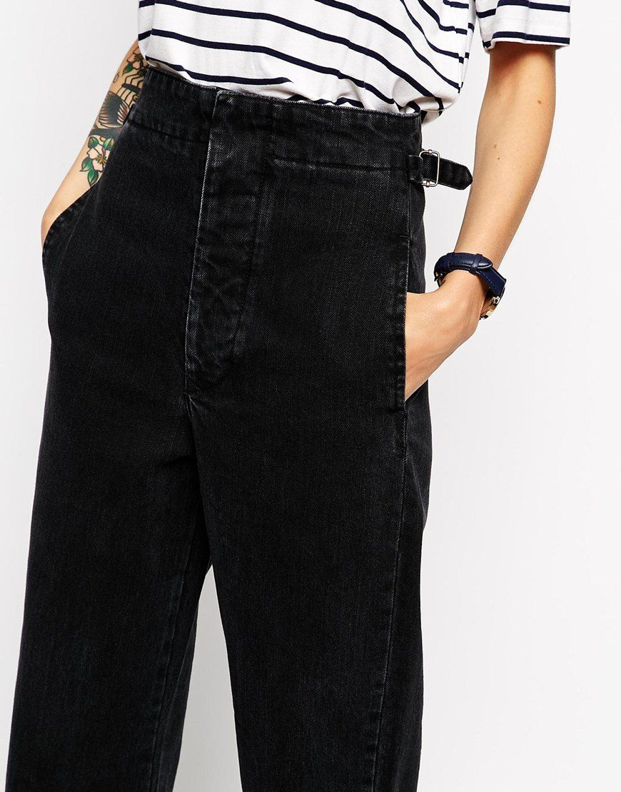 181113b0f08969 Image 3 of ASOS Denim High Waist Wide Leg Trouser in Washed Black