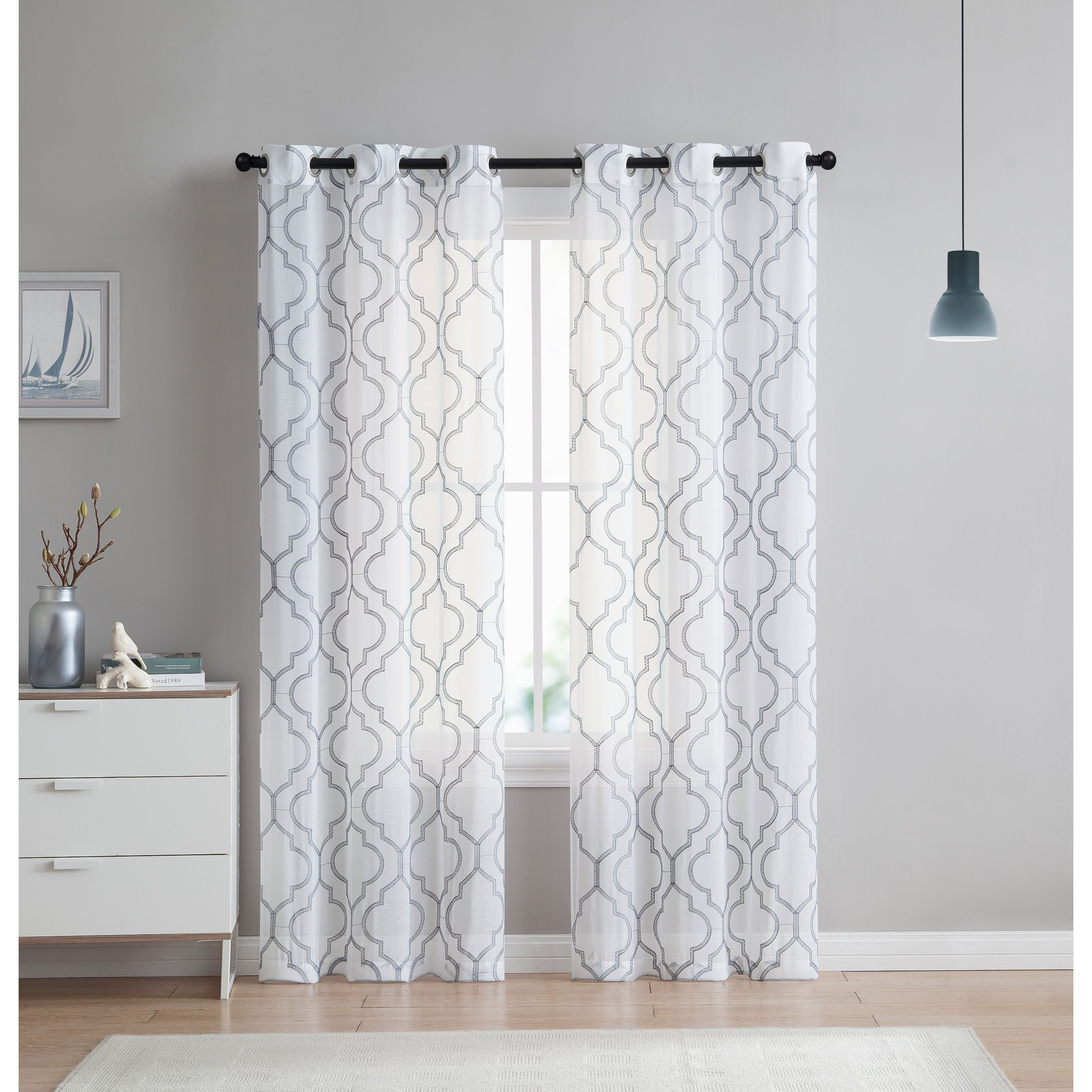 Vcny Home Charlotte Panel Pair (Grey  96 Inches)