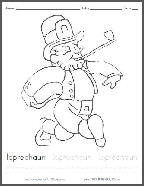 Leprechaun Coloring Page for St. Patrick's Day