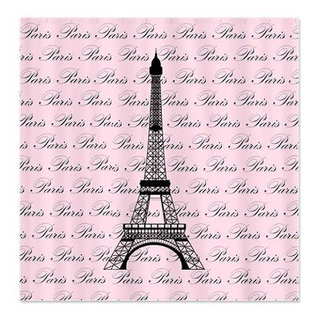 Eiffel Tower Cartoon | ... > Black Bathroom > Pink and Black Paris Eiffel Tower Shower Curtain