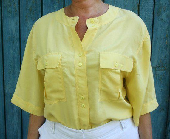 d354d09047fa Vintage 80 s Designer Yellow silk blouse Summer button down shirt women  Collarless top Angela Palazz