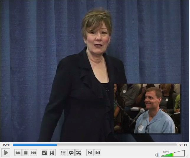 Abraham-Hicks: If Abraham were in my physical shoes, what question would Abraham ask Abraham (for me) - YouTube Denver, Sept. 2010.  (This picture of Esther and the man asking the question was taken from the actual video recording in Denver right after Abraham said..'do you want to know the answer?')  Double click for YouTube to start. (5.55 min)