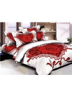 Romantic Heart Shape Roses Print 4 Piece Bedding Sets Comforter Sets Bedding Sets Elegant Bedding Sets Duvet Cover Master Bedroom