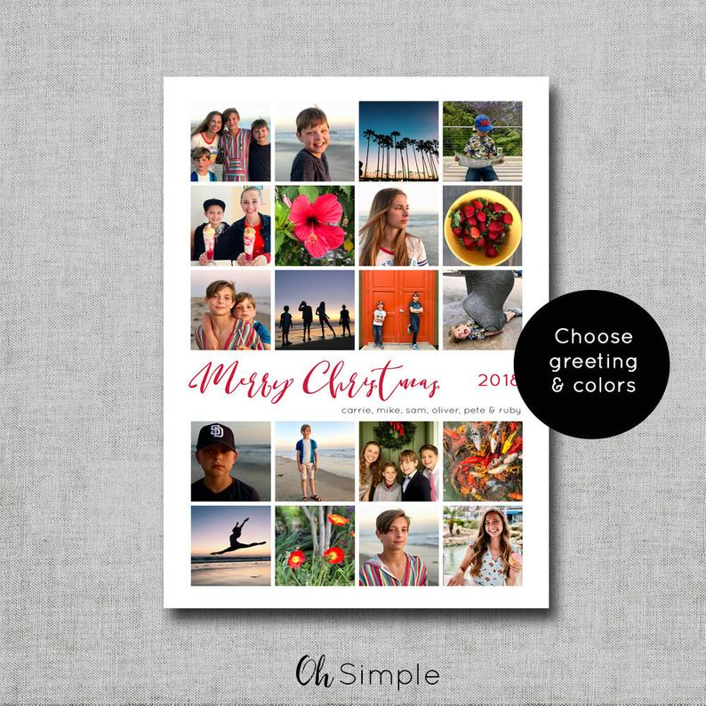 Photo Christmas Cards Instagram Photo Christmas Card Etsy Diy Holiday Cards Holiday Card Template Christmas Photo Cards