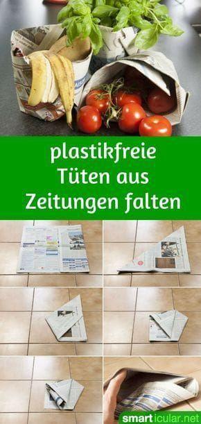 Doblar bolsas de basura y bolsas de la compra de periódicos sin pegar, con video