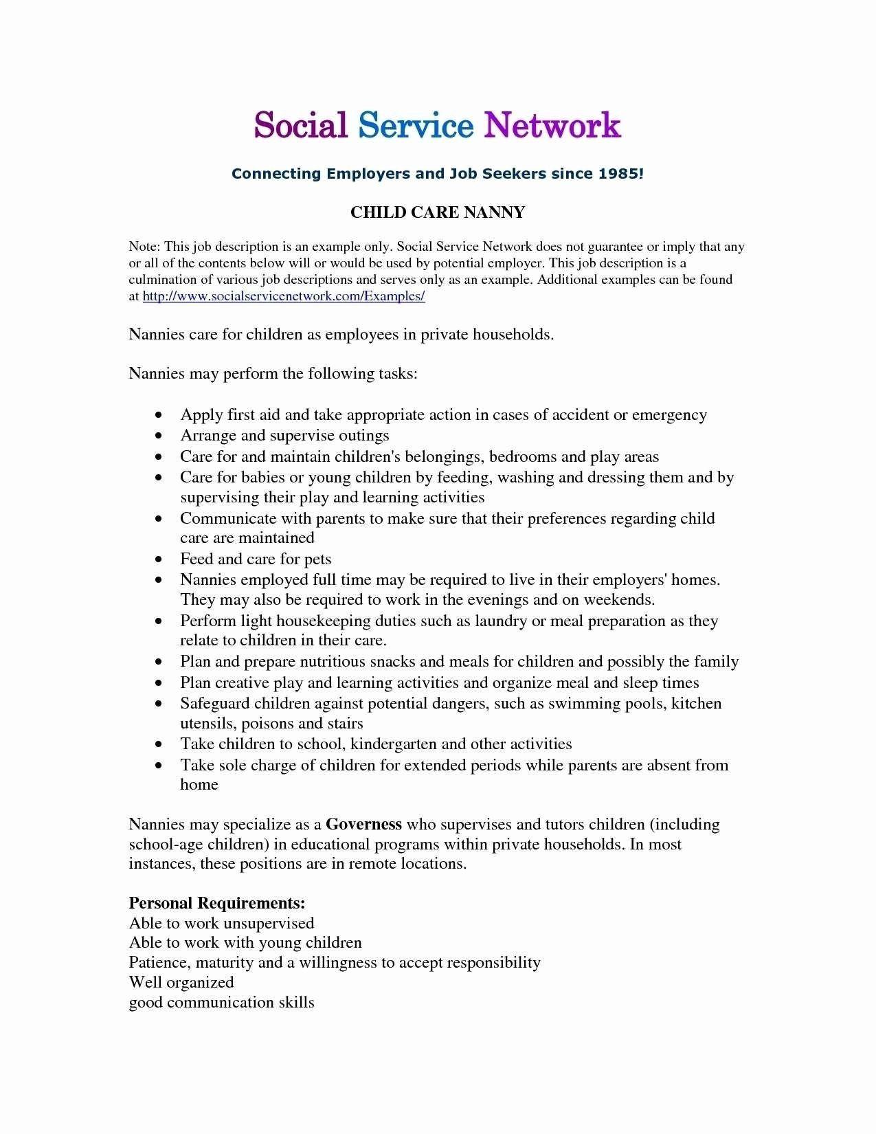 Babysitter Job Description For Resume Unique Baby Sitter Resume Sample Fresh Babysitter Resume Nanny Job Description Job Resume Examples Nanny Jobs