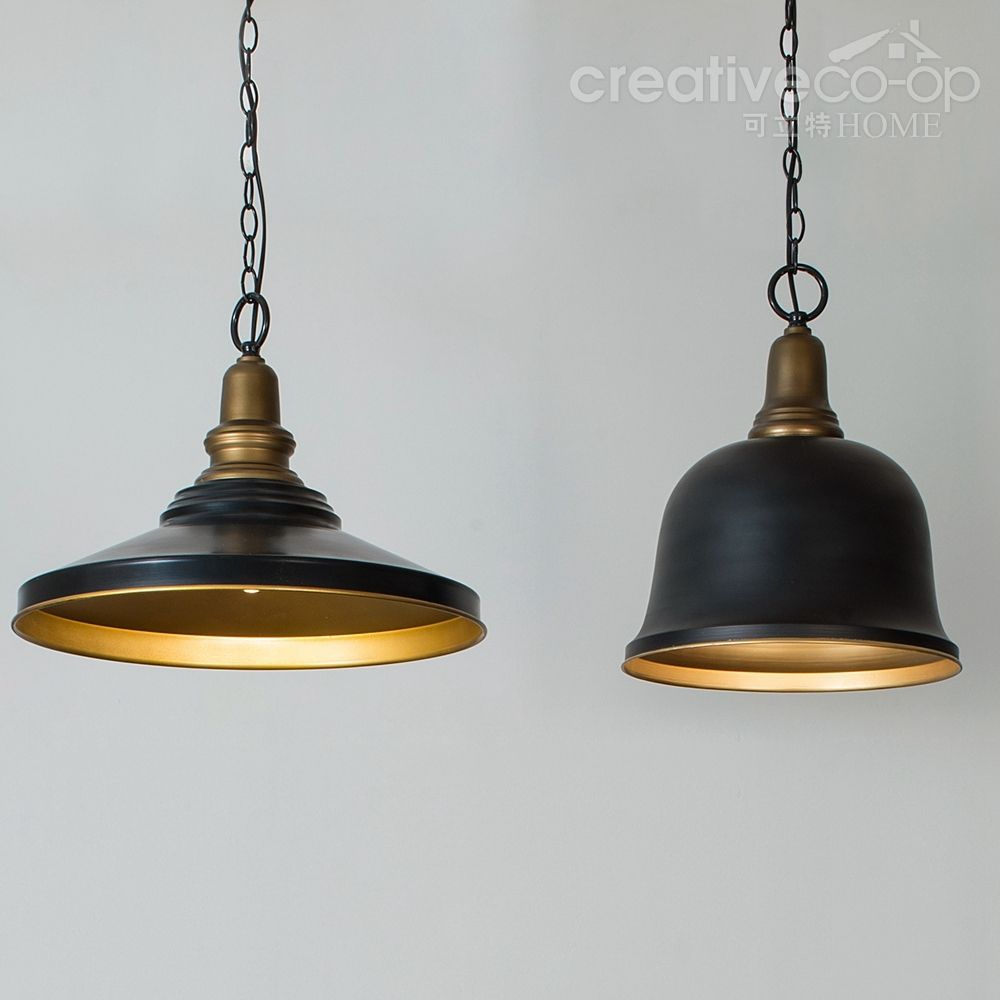 Black Metal Retro Pendant Lamp & Bell Pendant Lamp ☆ Creative Co-Op ...
