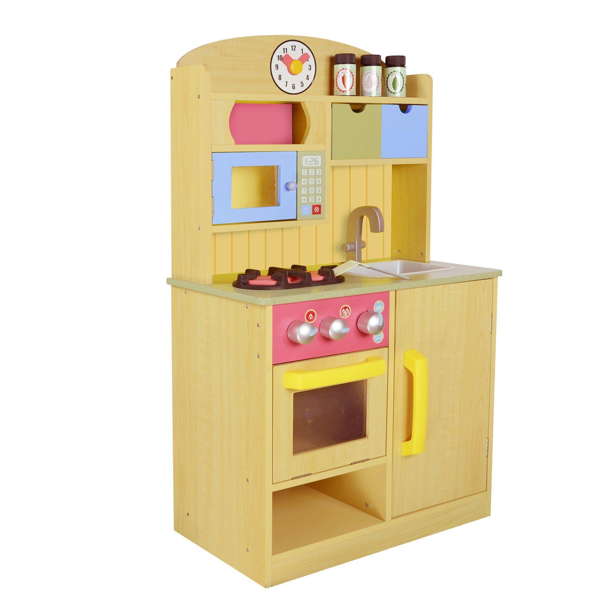 Teamson Kids Little Chef Burlywood Kitchen With Accessories Wooden Play Kitchen Play Kitchen Accessories Kids Play Kitchen Accessories