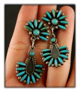 Vintage Zuni Needlepoint Turquoise Earrings A Great Pair Of Old Indian With