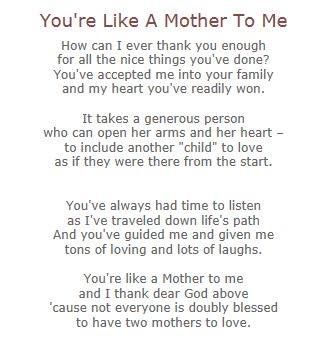 You're Like A Mother To Me | Poems | Mom quotes from