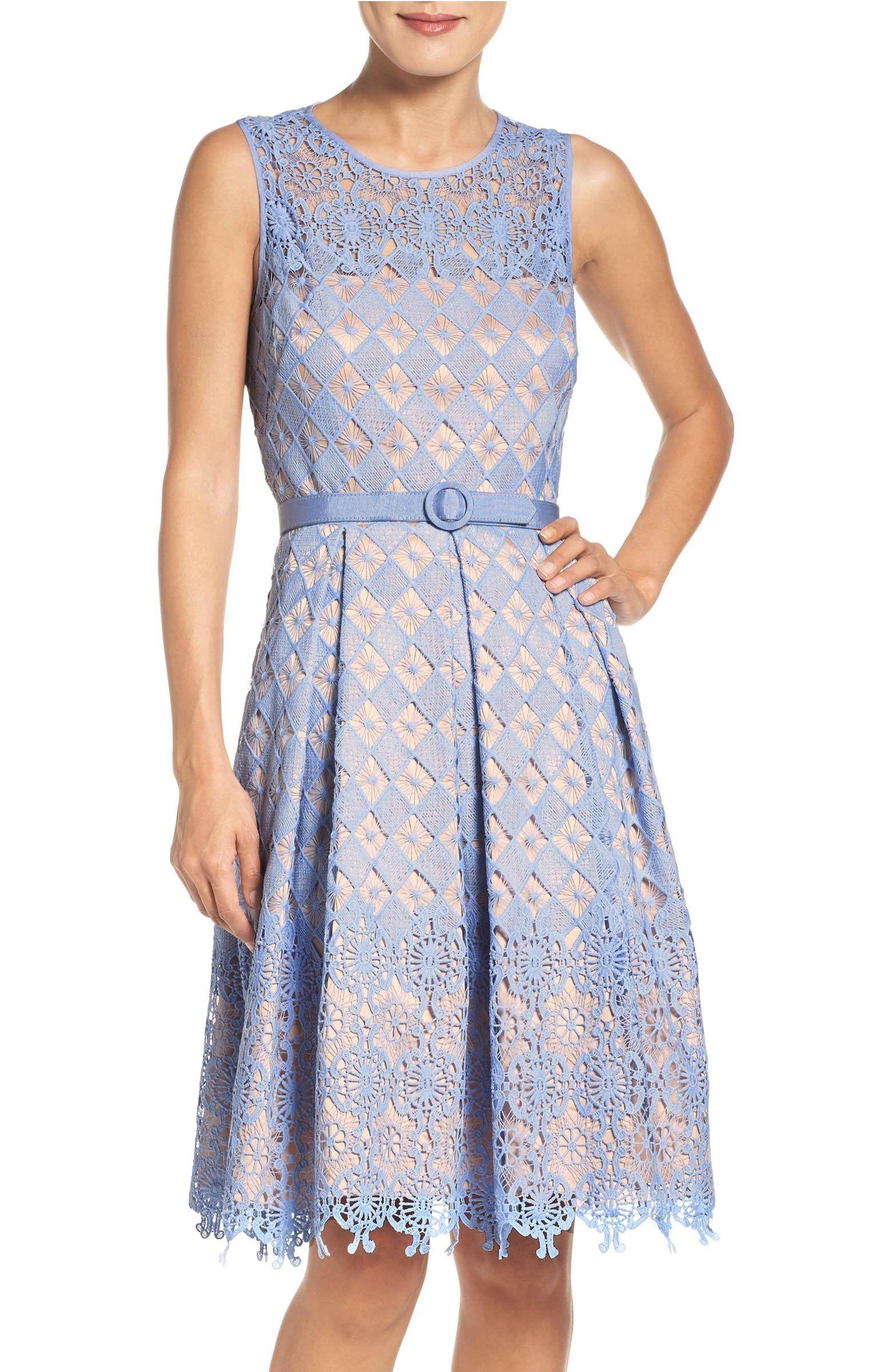 Main Image - Eliza J Belted Lace Fit & Flare Dress   Dresses & Shoes ...