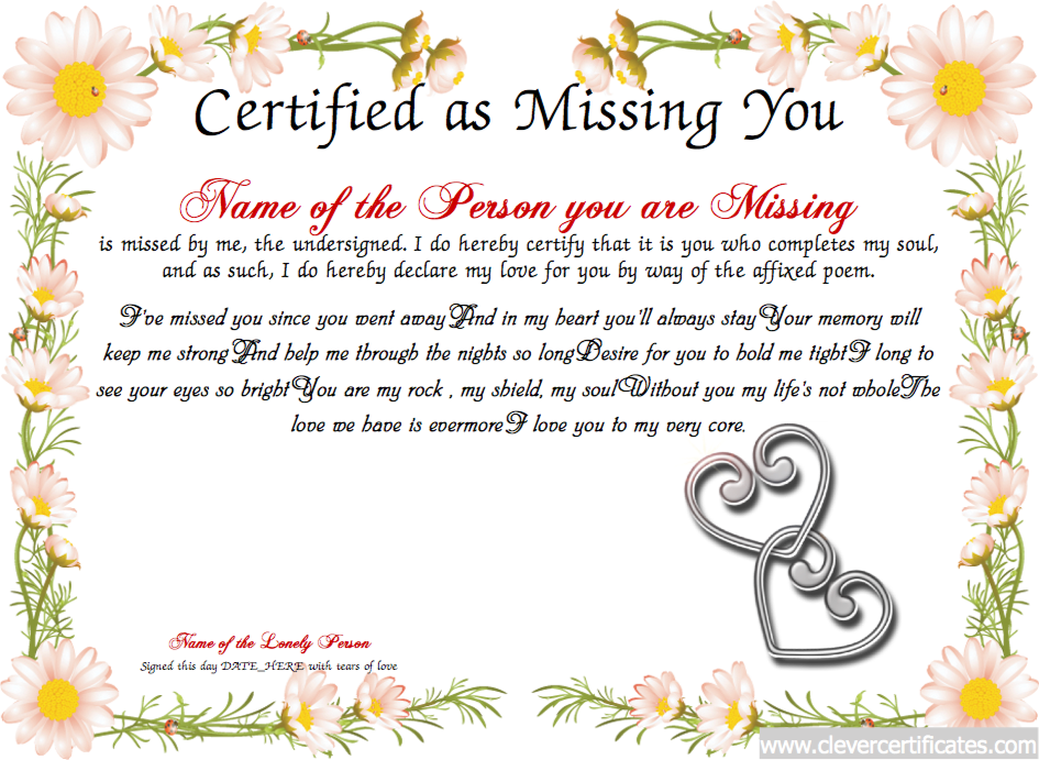 Missing You Free Certificate Templates You Can Add Text Images