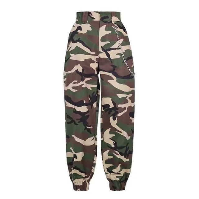 8dd4c6241ebc2 Cargo Pants Women Casual Trousers - Inspirational Clothing and Accessories.  MILITARY BITCH CAMO CHAIN PANTS
