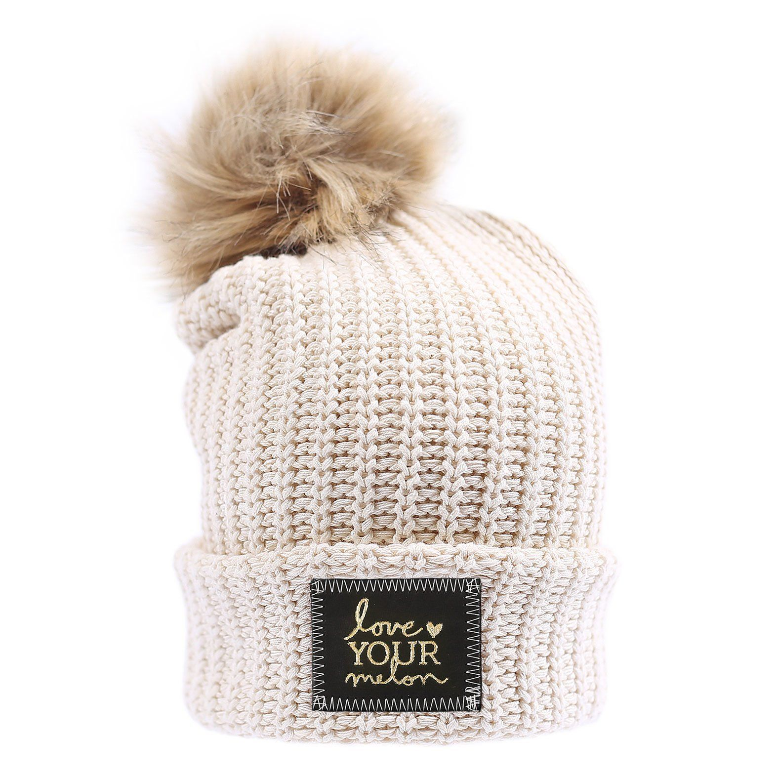 b0dc871be29c0 Love Your Melon White Speckled Gold Foil Cuffed Pom Beanie