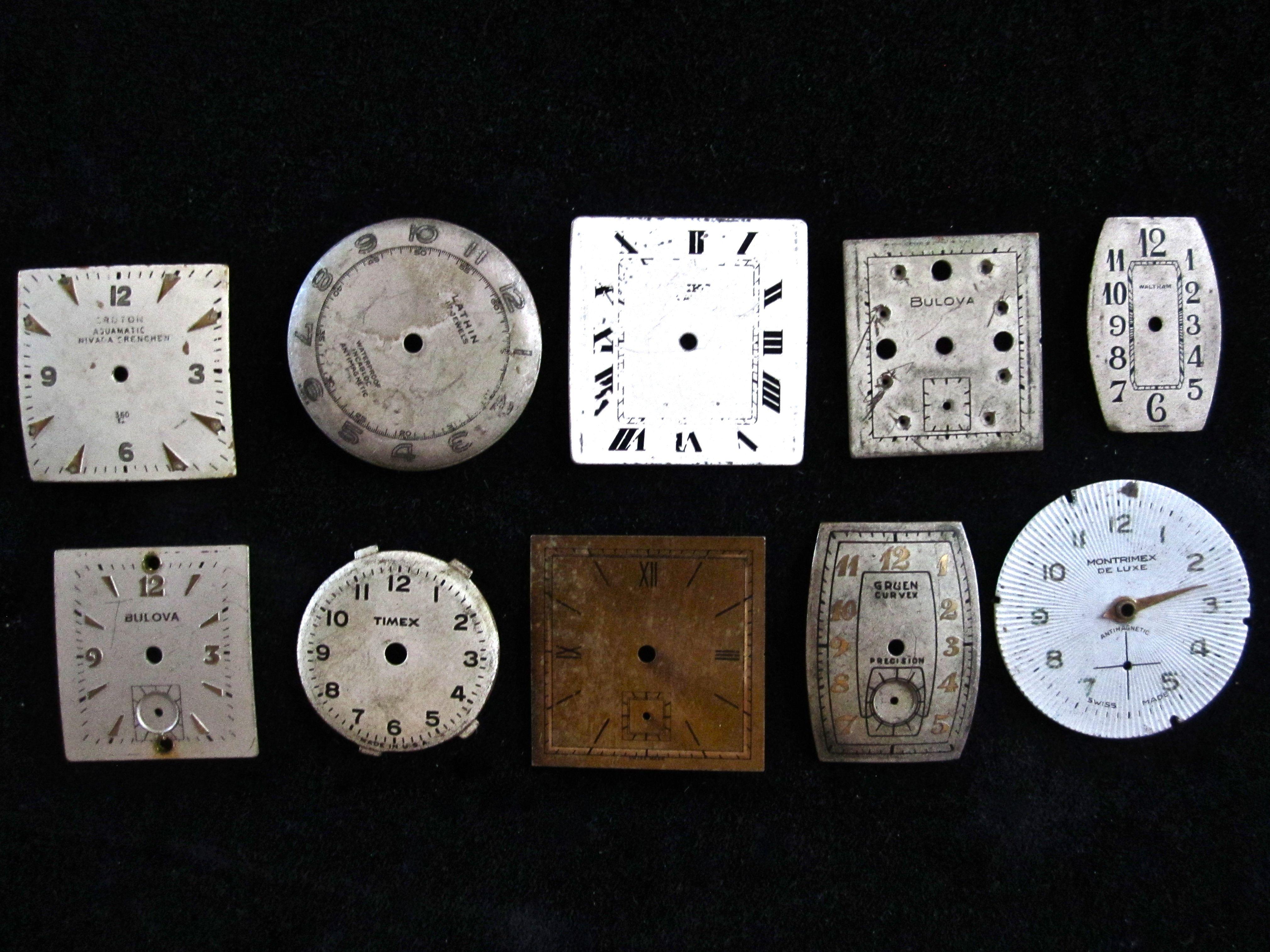 10 Vintage Metal Watch Faces.  SOLD