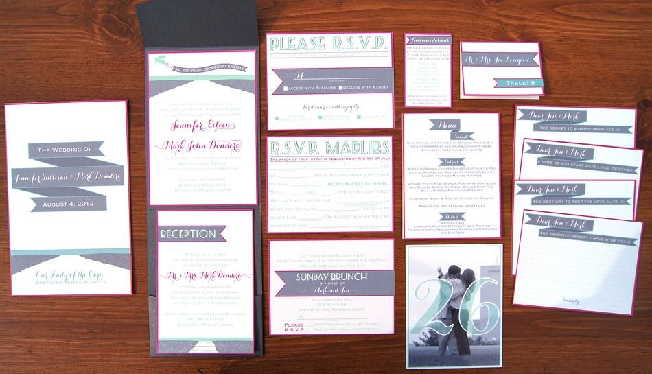 Wouldn\'t it be Lovely, modern beach wedding invitation suite ...