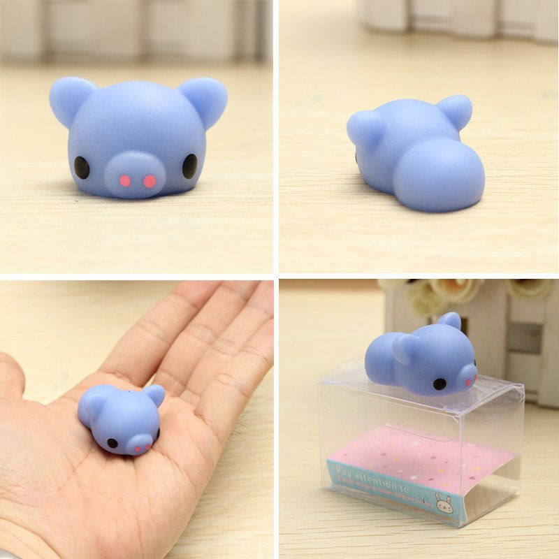 Squishy Toys Stress : Mochi Blue Piggy Squishy Squeeze Pig Cute Healing Toy Kawaii Collection Stress Reliever Gift ...