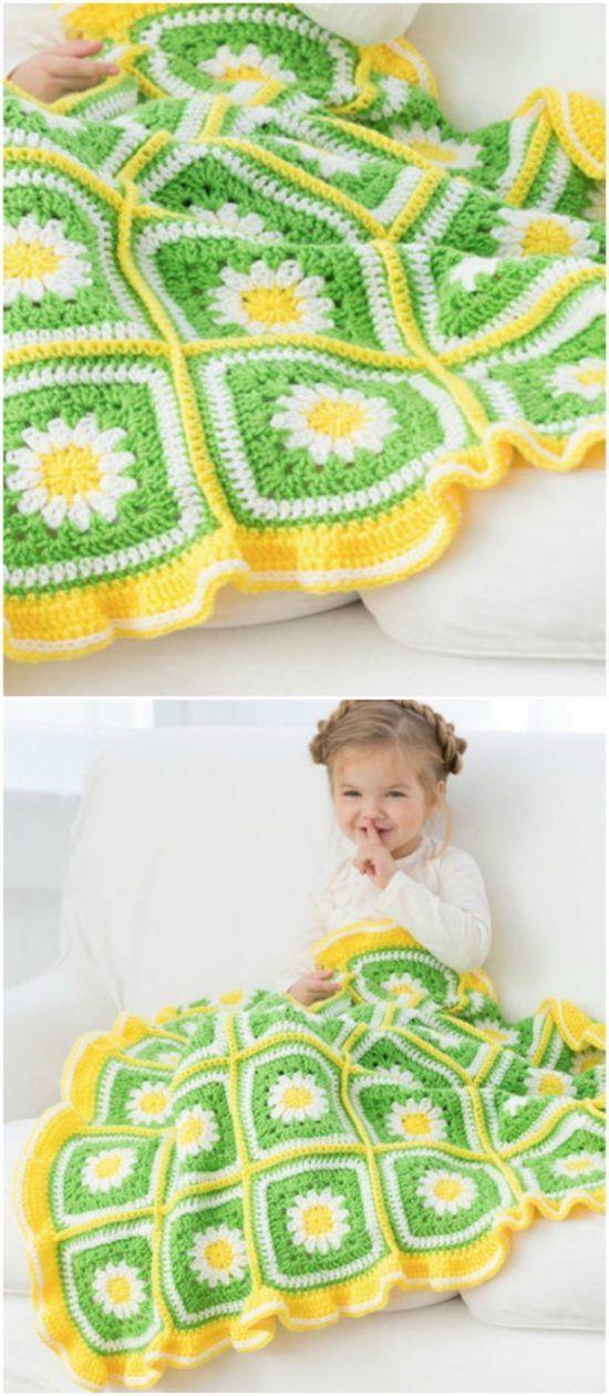 Crochet Daisy Granny Square Pattern Youtube Video Knitting