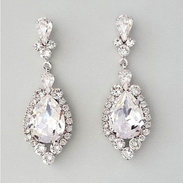 Chandelier Drop Earrings In Rhodium Silver With Genuine Swarovski Crystals A Beautiful Teardrop Shape