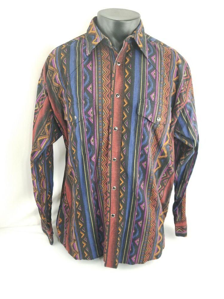 506ec182 Wrangler Western Pearl Snap Shirt Aztec All Over Print MC1551A Men's Adult  XL #WranglerWesternShirts #ButtonFrontPearlSnap