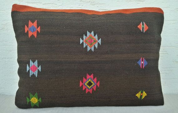 14X20 LARGE BROWN Kilim Pillow CoversNatural Dyes by pillowsstore, $49.00
