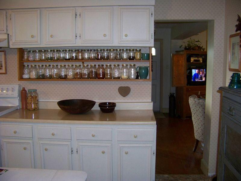 shelves under kitchen cabinets | Open shelves under an ...