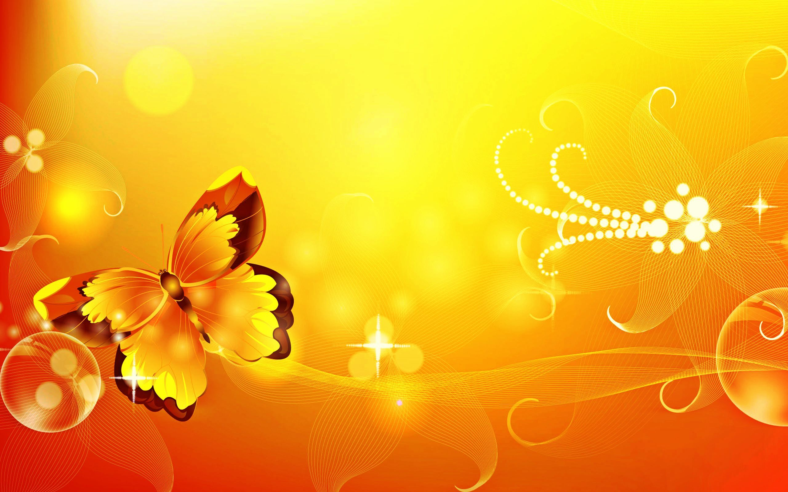 HD Butterfly, Flowers, Graphic Design, Yellow Background