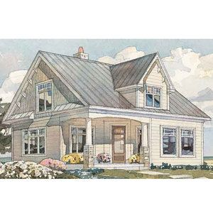 Cedar Shingles And Wooden Brackets Accent The Peaked Gables Of This 1 184 Square Foot Home Beach House Plans Small Cottage Designs Southern Living House Plans