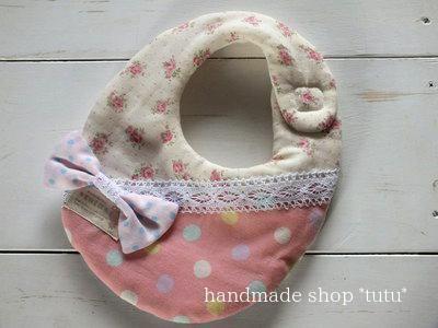 リボンスタイ2 ピンク Handmade goods for baby&kid`s Handmade shop *tutu* 【生地】 表 Wガーゼ 中 タオル 裏 Wガーゼ