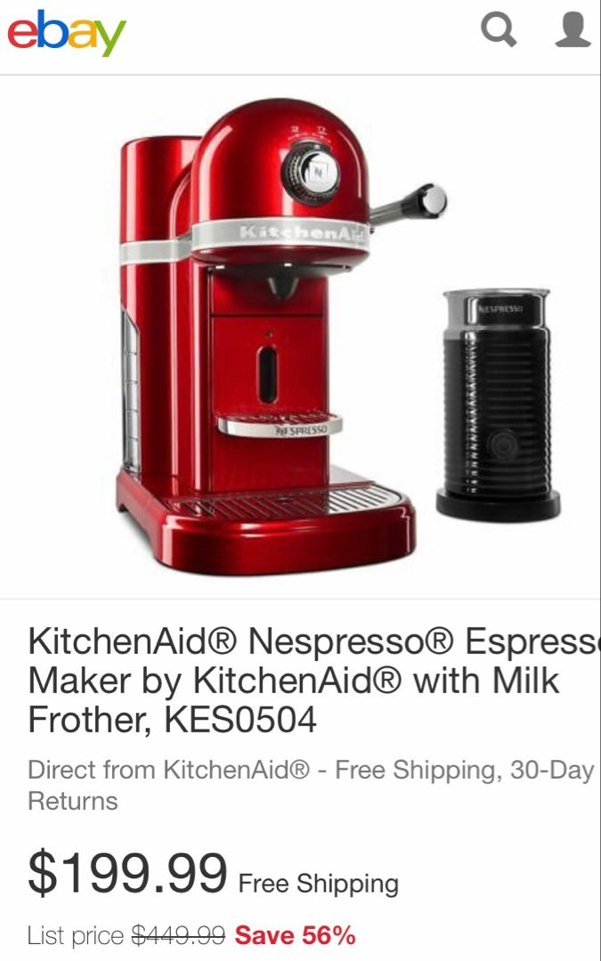 KitchenAid® Nespresso® Espresso Maker by KitchenAid® with Milk Frother, KES0504  | eBay #espressomaker