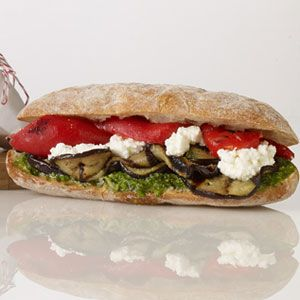 Grilled Eggplant, Roasted Red Pepper and Ricotta Sandwich
