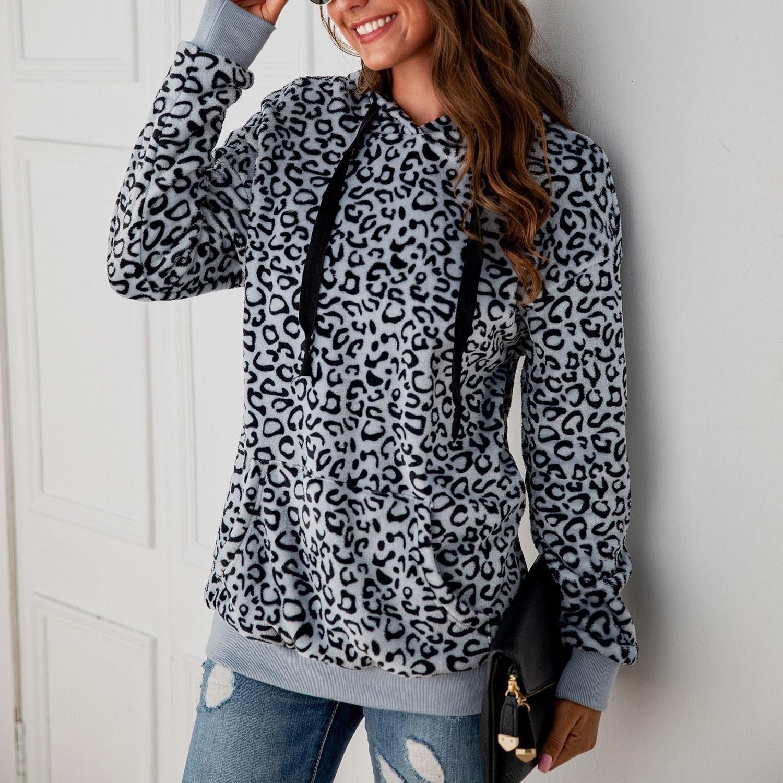 Fashion Women S Hoodies Hooded Warm Zip Fuzzy Ladies Pullover Long Sleeve Fleece Leopard Sweatshirt Sweatshirts Hoodie Sweatshirts Women Hoodie Print [ 1500 x 1500 Pixel ]