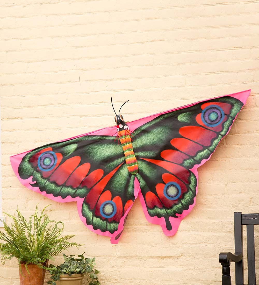 Hand Painted Fabric Butterfly Kite In Framed Wall Art Hand Painted Fabric Fabric Butterfly Hand Painted