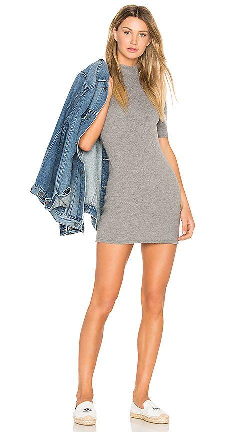 rvca 3/4 sleeve mock neck mini dress + oversize jean jacket + white slide or sneakers