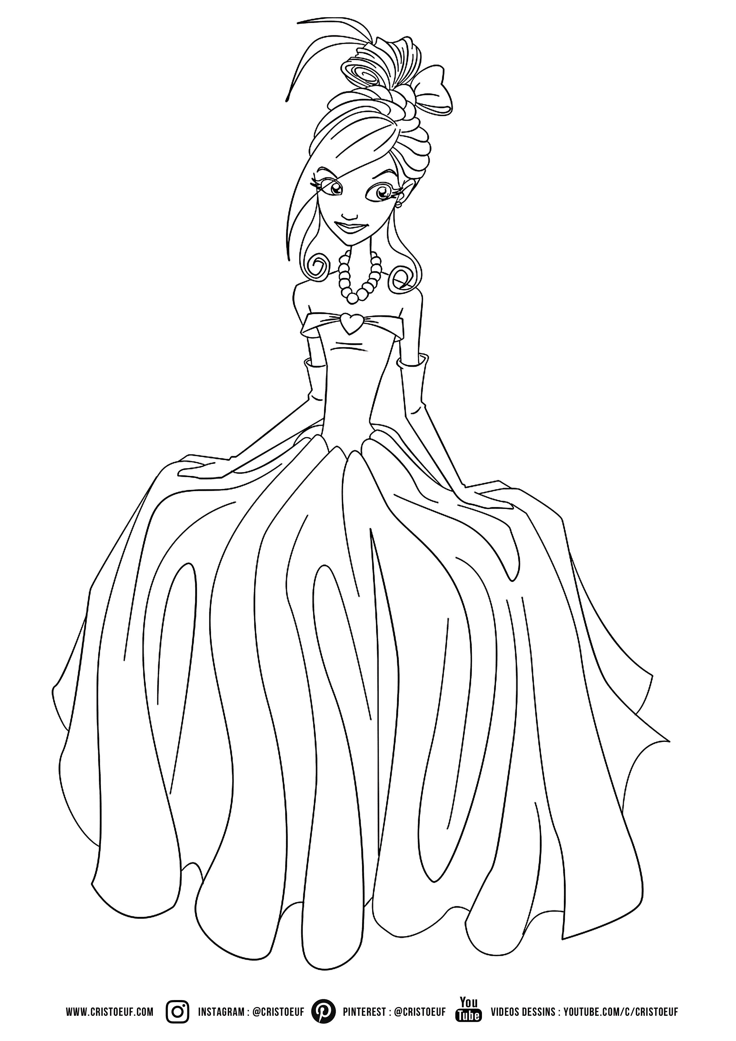 coloriage #princess #disney #princesses #girl #cute #dress #beauty