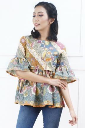 Ca18010 Destina Batik Top Batik Fashion Blouse Batik