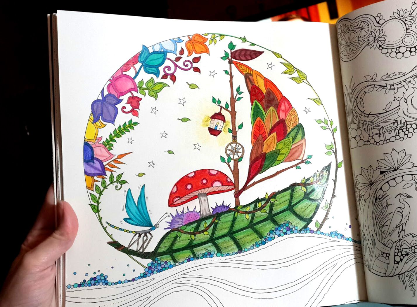 Coloring In Progress Shot Of The Adult Book Page Featuring A Leaf Sailboat From