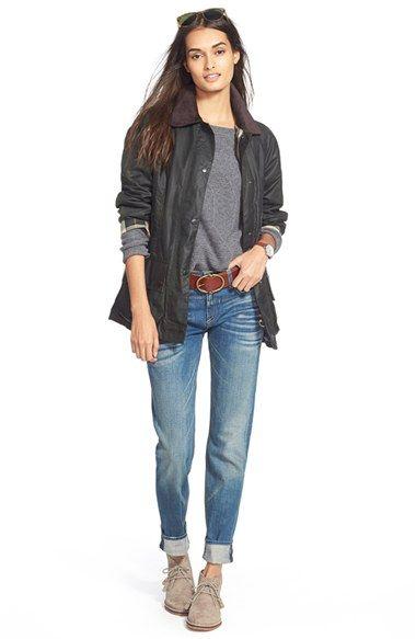 Barbour Jacket, Halogen® Sweater & rag & bone/JEAN Boyfriend Jeans available at #Nordstrom