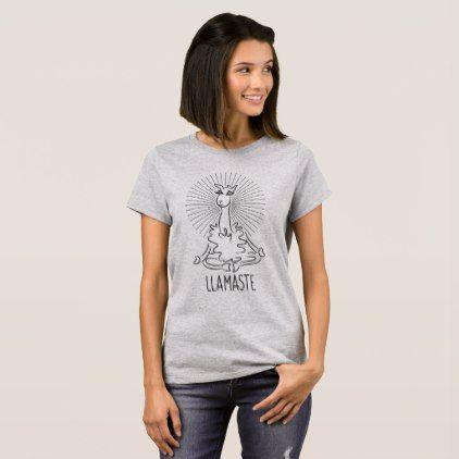 56839468 Llamaste Cute Llama Yoga Wear Hot Yoga Clothes T-Shirt - yoga health design  namaste mind body spirit